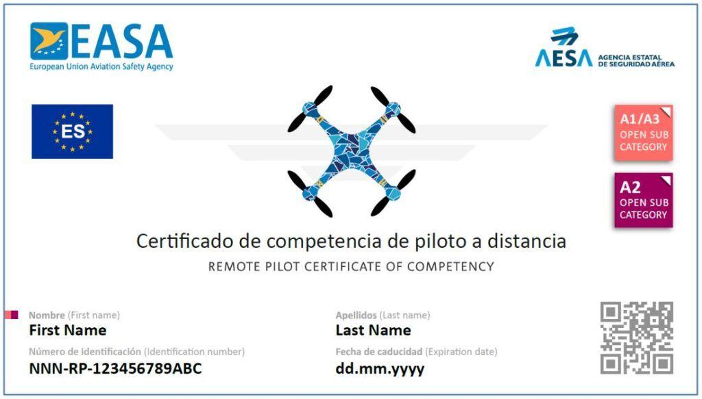 Certificado de competencia Curso piloto dron