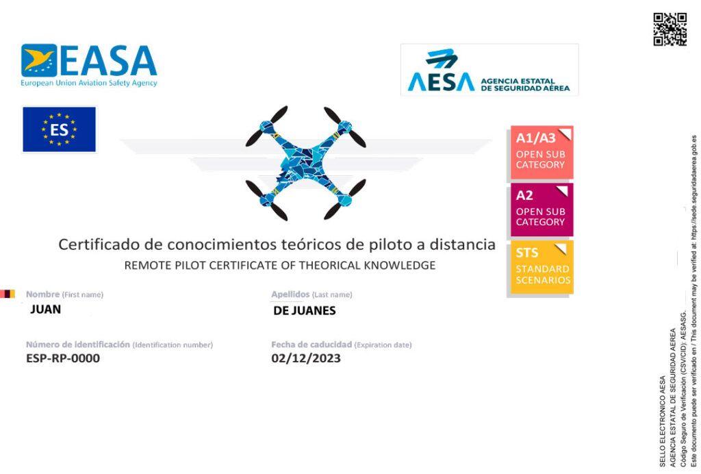 Certificado Curso Piloto Drones AESA